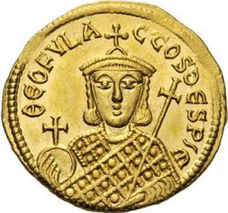 Theophylact (son of Michael I) - Theophylact on the reverse of a solidus coin, clad in the loros and holding a globus cruciger