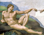 Adam. Detail from Michelangelo's fresco in the Cappella Sistina (1511)