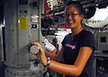 Michelle Wie visits the bridge of the USS Honolulu.jpg