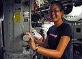Michelle Wie visits the bridge of the USS Honolulu.jpg