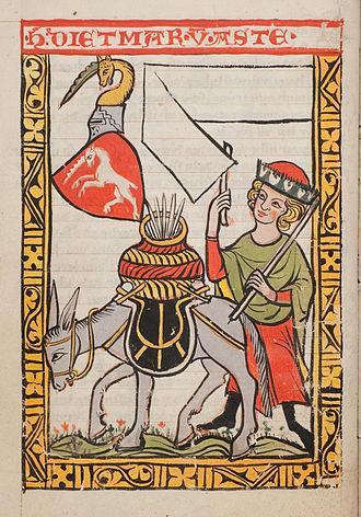 """Dietmar von Aist - Dietmar von Aste: Alternative names used in the early literature for Dietmar von Aist are Dietmar von Aste or von Ast, as depicted above in the """"Konstanz-Weingartner Liederhandschrift"""" (written around 1310-1320 in the monastery St. Martin at Weingarten near Ravensburg). The unicorn served as heraldic animal for Dietmar."""