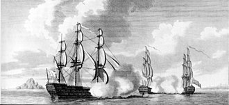 Battle of the Mona Passage - The capture of the French 64-gun ships Caton and Jason by the Valiant, 74 in the Mona Passage, 19 April 1782