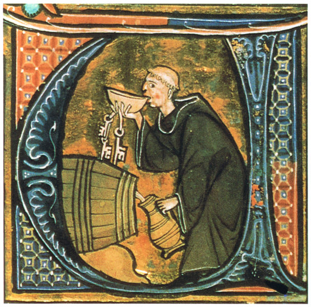 Medieval European Illustration of Monk Sneaking Wine