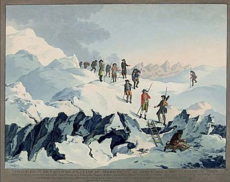High mountain tour - The start of the high mountain tour at the end of the 18th century: contemporary portrait of Horace-Bénédict de Saussure on Mont Blanc in 1787