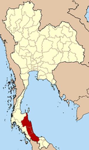 Monthon Nakhon Si Thammarat - Map of Thailand highlighting the location of Monthon Nakhon Si Thammarat