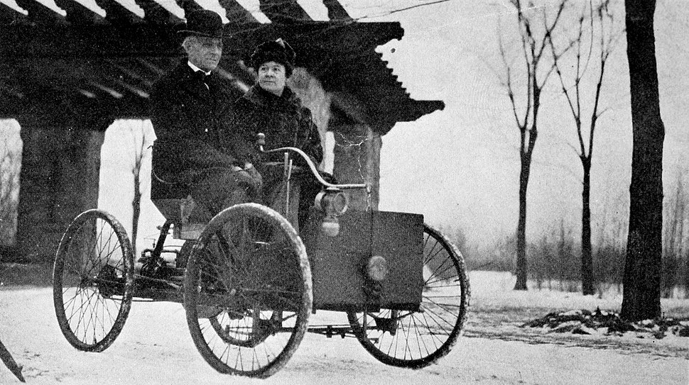 Mr and Mrs Henry Ford in his first car