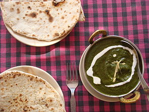 Saag - Mutton (goat) saag with naan bread