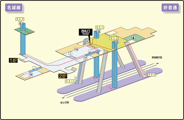 Myoon-dori station map Nagoya subway's Meijo line 2014.png