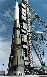 N1 1M1 mockup on the launch pad at the Baikonur Cosmodrome in late 1967.jpg