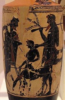 Peleo affida il giovane Achille al centauro Chirone, vaso a sfondo bianco e figure nere del pittore di Edimburgo, ca 500 a.C., da Eretria, Atene, Museo Archeologico Nazionale.