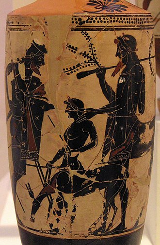 Peleus - Peleus consigns Achilles to Chiron's care, white-ground lekythos by the Edinburgh Painter, c. 500 BC, (National Archaeological Museum of Athens)