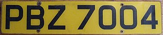 "Vehicle registration plates of the United Kingdom - Northern Ireland plate. EU bands are not provided, and are uncommon in Northern Ireland, but can be added, although the ""NI"" code is unofficial. This particular plate uses an old-style font."
