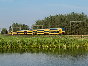 Nederlandse Spoorwegen - Double decker train near Gouda, South Holland