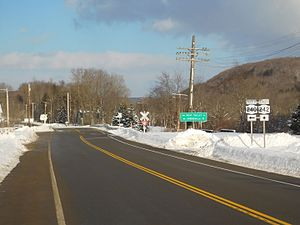 New York State Route 242 - NY 242 eastbound at the junction with NY 240 in Ashford