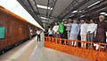 Narendra Modi dedicating the newly constructed railway line between Shri Mata Vaishno Devi Katra-Udhampur Section to the Nation by flagging off the first train from Shri Mata Vaishno Devi Katra Railway Station.jpg