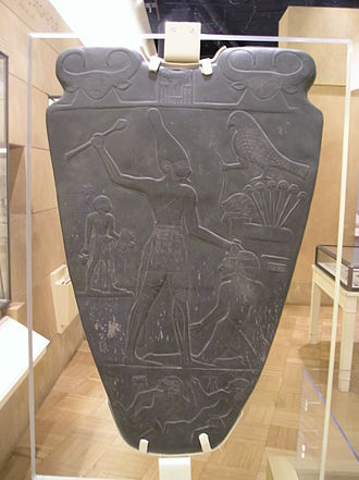 Bat (goddess) - The Narmer Palette, Bat flanks the top of both sides.