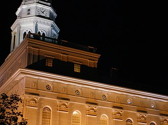 Nauvoo Illinois Temple - Image: Nauvoo Illinois Temple Southwest Night Architectural Detail