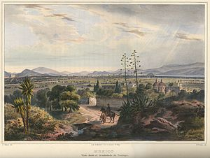 Tacubaya - Mexico City as seen from Tacubaya 1836 by Carl Nebel