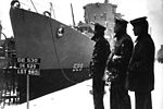 Negro sailors of the USS MASON commissioned at Boston Navy Yard 20 March 1944 proudly look over their ship which is first to have predominantly Negro crew HD-SN-99-02594.jpg