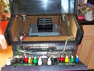 Neo Geo (system) - Inside a four cartridge Neo Geo arcade machine