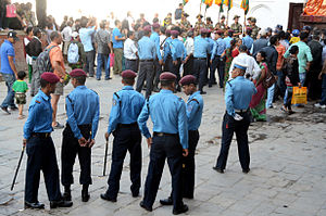 Nepal Police - Nepal police on duty at Fulpati 2013 at Kathmandu Durbar Square at Kathmandu