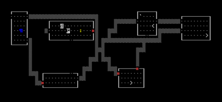 A level in NetHack in ASCII mode NetHack 3.4.3 ASCII capture ecran.png
