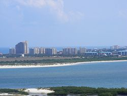 New Smyrna Beach from observation deck on top of Ponce de León Inlet Light