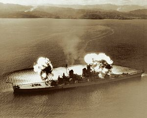 USS New Jersey (BB-62) - New Jersey opening fire upon North Korean targets near the 38th parallel.