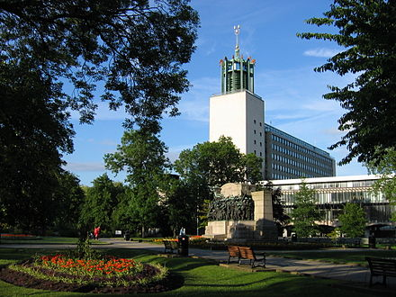 Newcastle Civic Centre, and the Northumberland Fusiliers Memorial Newcastle civiccentre 06.jpg