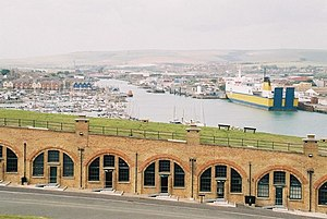 Newhaven Fort - the casemates and the eastern rampart overlooking the harbour