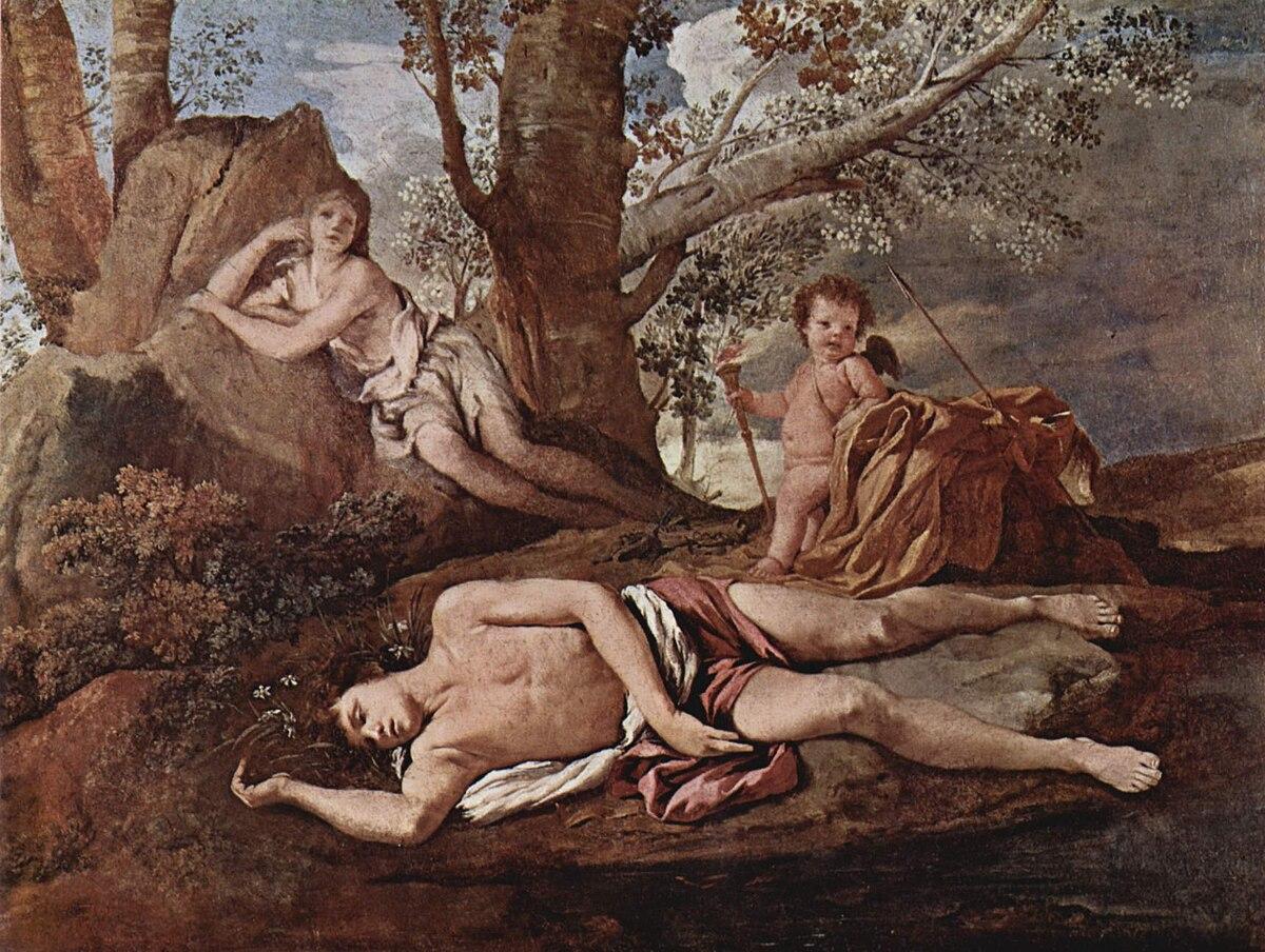 Nicolas Poussin, Eco e Narciso (ca. 1629-1630), Museo del Louvre, Parigi..jpg