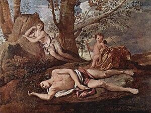 Echo (mythology) - Echo and Narcissus, a depiction of Echo and Narcissus featuring Cupid and his arrows. (Nicolas Poussin, 1630, Louvre Museum, Paris)
