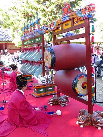 Seokjeon Daeje - Aak musicians at Munmyo Shrine with stone chimes and drums
