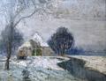 Norddeutsche Winterlandschaft -- Reet gedecktes Friesenhaus am Fluss um 1925.png