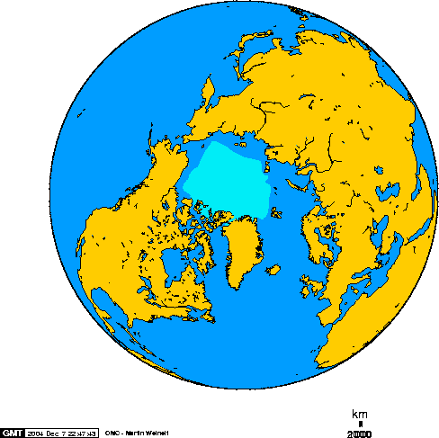 North pole september ice-pack 1978-2002