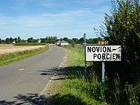 Novion-Porcien (Ardennes) city limit sign.JPG