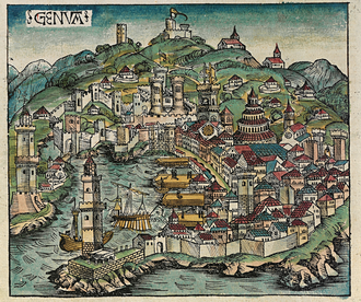 Lighthouse of Genoa - The city of Genoa in a woodcut from the Nuremberg Chronicle, 1493; the Lanterna can be seen in the left edge of the picture.