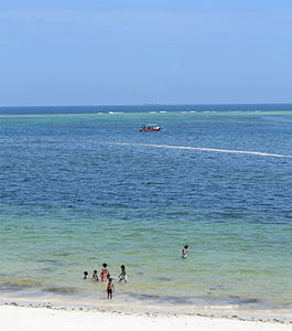 Nyali Beach from the Reef Hotel during high tide in Mombasa, Kenya 16 (edited).jpg