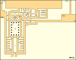 Annotated map of Nyuserre's mortuary temple. Described in detail in upcoming section.
