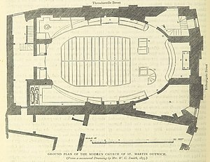 St Martin Outwich - Ground plan of the church, shortly before demolition, showing the oval design of the interior.