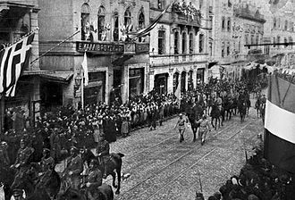 Occupation of Smyrna - Allied troops marching during the Occupation of Constantinople