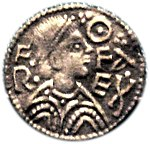 A penny depicting King Offa of Mercia, who is credited with widespread adoption of pennyweight silver coins, 240 of which were counted as a pound.