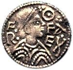 Um centavo que descreve o rei Offa de Mercia, que é creditado com a adoção generalizada de moedas de prata Pennyweight, 240 dos quais foram contados como uma libra.