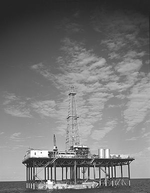 Conoco - Conoco offshore oil well drilling platform, Gulf of Mexico, 1955.