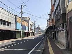 Oita Prefectural Road No.678 on west side of Bungo-Mori Station.jpg