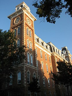 Old Main In 2007 With The Recently Added South Tower Clock Face Location Fayetteville Ar