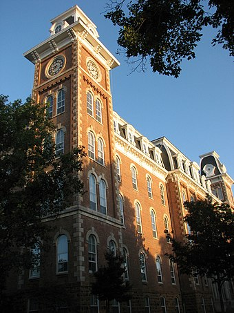 Old Main, part of the Campus Historic District at the University of Arkansas in Fayetteville OldMainUofA.jpg