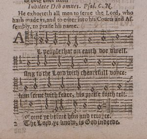 Der 100. Psalm - Old Hundredth, Psalm 100, the beginning of a traditional tune in a 1628 print