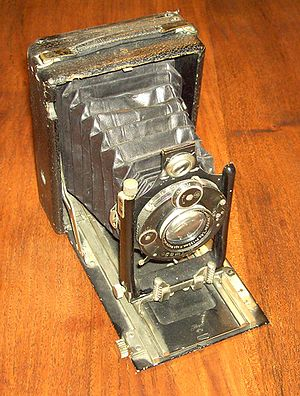 Vintage box-bellows type field camera