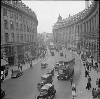 Architecture of London - Regent Street (1942): laid out 1811-1825 by John Nash (architect) was finally completed in 1927.